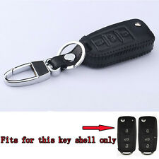 Leather Keyfob Key Holder Cover Case BLK For Tiguan Golf Passat Sagitar Santana