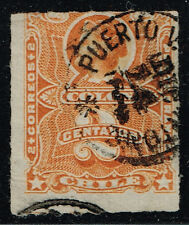 CHILE STAMP # 20 RULETEADO BARRADO CANCEL PUERTO VIEJO DE SAN ANTONIO