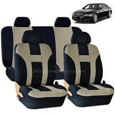 BEIGE & BLACK DOUBLE STITCH SEAT COVERS 8PC SET for AUDI A3 A4 Q5