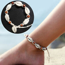 Natural Sea Shell Bead Anklet Cord Bracelet Chain Boho Hippy Surf Foot Jewellery