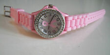 Geneva Pink Ribbon Breast Cancer  Awareness Small Silicone Rhinestone Watch