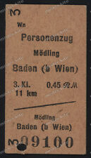 Fahrkarte-Fahrschein-1940-Bahn-30/40er Jahren-Mödling-Baden-Wien