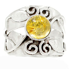 Golden Rutile 925 Silver Ring Jewelry s.8 SR213250