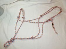 "1/4"" Soft Polyester Rope Horse Halter-Blue/Grey/Orange/White-Average Horse Size"
