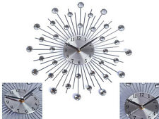ELEGANT 33CM SILVER DIAMANTE BEADED JEWELED ROUND SUNBURST WALL DECOR CLOCK