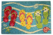 Natural Coir Welcome Flip Flop Doormat ~ Turquoise Door Mat