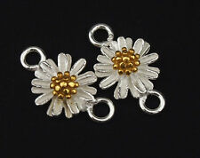 925 Sterling Silver 2 Daisy Links Connectors Gold plated pollen 8.5mm.