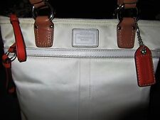 COACH Hamptons Off White Satin Orange & Leather Trim Tote Shoulder Bag Purse EUC