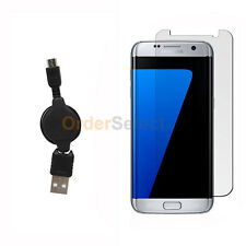 USB Micro Retract Data Charger Cable+LCD Screen Guard for Samsung Galaxy S7 Edge