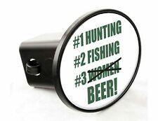 #1 Hunting #2 Fishing #3 Beer - Hitch Cover- Green on White - Made in the USA