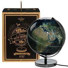 "Wild & Wolf City Lights Globe 12"" inch Light Up Plug In Stainless Steel Base"
