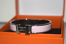 Hermes Clic Clac H Bangle Bracelet Pink Enamel Silver tone with Box Authentic 17