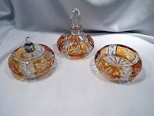 Bohemian Amber Cut to Clear Crystal 3-Piece Dressing Table Set, Trinket, Cologne