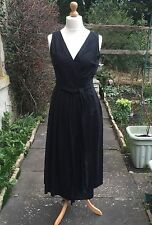 VINTAGE Black Linen LAURA ASHLEY Pleated Embroidered Wrap Over Dress NEW UK 16