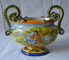 Antique Majolica Hand Painted Jardiniere Dutch? Marked M Pastoral Snakes Cache