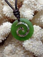 Polar Jade & Paua Abalone Maori Koru Disc Surfer Surf Tribal Necklace
