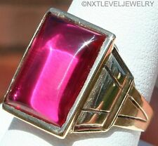 Antique 1920's Art Deco LARGE Ruby Cabochon 10k Solid Yellow Gold Men's Ring