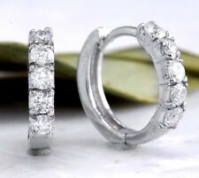 .60Ct Natural Diamond 14K Solid White Gold Hoop Earrings