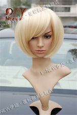 Fashion Bob Girls Women Short Light Blonde Straight Hair Cosplay Party Full Wig2