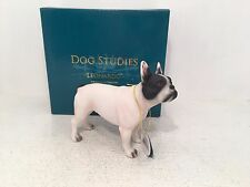Dog Studies by Leonardo White & Black French Bulldog Figurine Ornament *BOXED*