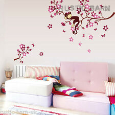 Home Decor Vinyl Wall Sticker Art Decal Cute Sleeping Monkey on Cherry Blossom