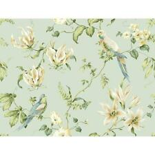 Wallpaper Tropical Bird With Green Cream Beige Blue Floral Vine on Pale Blue