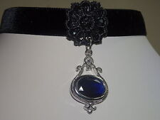 VICTORIAN DEEP BLUE FACETED CRYSTAL AND SILVER BLACK VELVET CHOKER