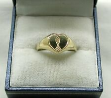 Ladies Very Nice 9ct Gold Heart Shaped Signet Ring