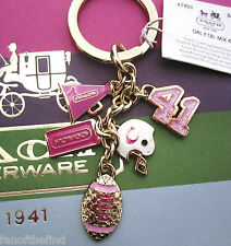 NWT Coach Pink Girlie Cheerleader Football Mix Key Chain Fob Charm 61903