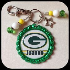 Personalized GREEN BAY PACKERS Bottle Cap Jewelry Ladies Zipper Pull Womens Girl