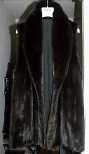 "NEW NEVER WORN Stylish Genuine black brown MINK Fur Vest 30"" size M L armpit 21"""