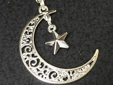 "Moon Wish Upon 3D Star Charm Tibetan Silver 18"" Necklace BIN"
