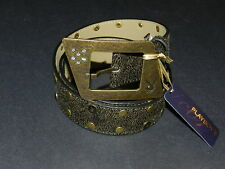Playboy crystals cooper tone buckle with cooper and bunny studs belt medium NEW