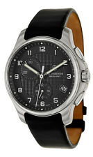 Swiss Army Classic Officer's Chronograph Steel Mens Black Strap Watch 241552