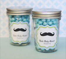 24 Personalized Little Man Theme Mini Mason Jars Baby Shower Favors