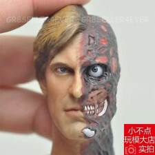 Custom 1/6 scale Aaron Eckhart Burned Head Sculpt Two Face for Hot Toys Body