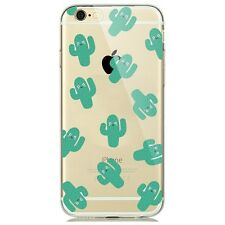 Soft Silicon Cactus Print Pattern Transparent Back Case Cover For Apple iPhone 7