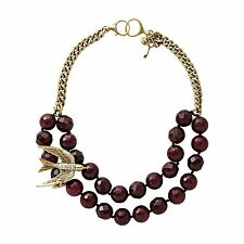 JA4776716 NEW Fossil Ladies Original Dark Berry Rare Bird Necklace £55