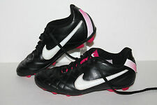 Nike Jr.Tiempo Rio FG Soccer Cleats, #509035-016, Blk/Wht/Pink, US Sz 3.5 Youth