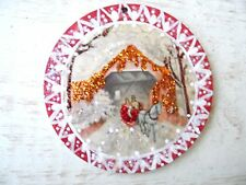 Vintage Image Glittered CHRISTMAS Ornament- Mini Horse Drawn Sleigh