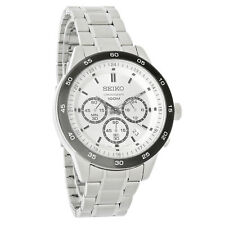 Seiko Mens Silver Dial Stainless Steel Analog Chronograph Quartz Watch SKS531