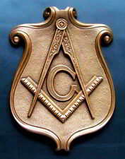 Masonic Plaque Emblem Crest Cold-Cast/Bronze Freemason Square & Compass