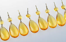 10 Yellow Tear Drop Crystal Prisms Lighting Pendant Parts Glass Lamp Chandelier