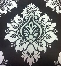 Damask Wallpaper Modern Leaf Bold Silhouette Black And White Debona