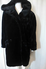 "Vintage DonnyBrook Faux Fur Coat With Hood Knee Length 35""  Black Large"
