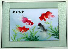 "Chinese embroidery painting Goldfish 21x30"" traditional hand-made art"