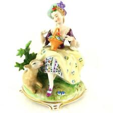 UNTERWEISSBACH GERMAN PORCELAIN FIGURE GROUP LADY WITH LAMB & FLOWER BASKET