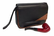 Pipe Combo Bag Large Black and Brown Vinyl Holds 4 Pipes with Tobacco Pouch