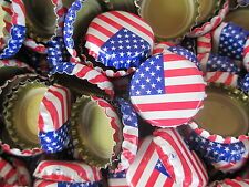 90 Crimped American Flag Beer Bottle Caps (No Dents). Free Shipping