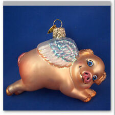 Flying Pig Old World Christmas Ornament Glass Blown Animal NWT 12352